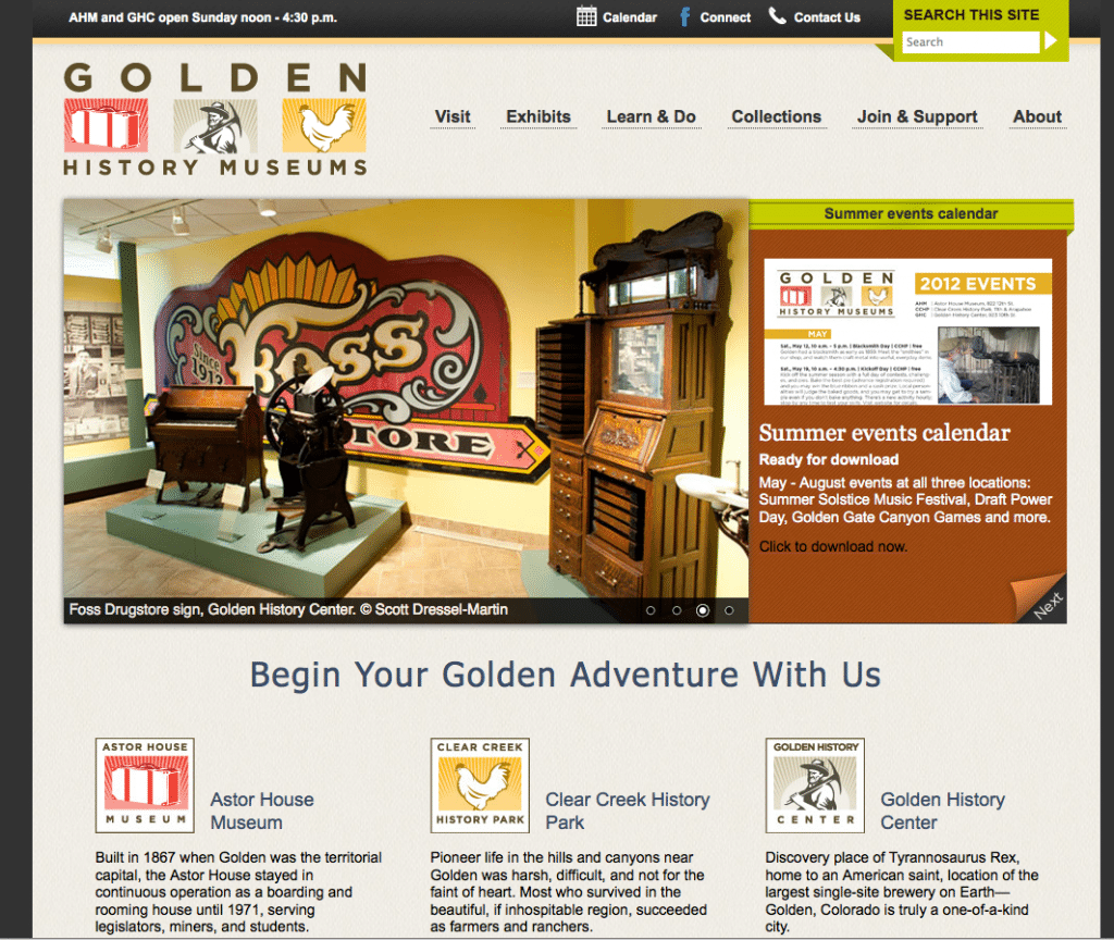 Golden History Museum Homepage